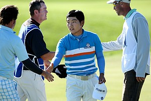 Sung-Hoon Kang of Korea after he finished his round on Friday. He is currently T6.