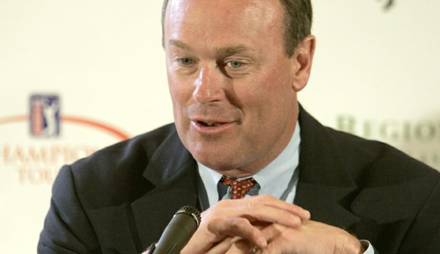 Rick George talks during a 2007 Champions Tour press conference at Ross Bridge Resort in Hoover, Ala.