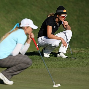 Giulia Sergas and Amanda Blumenherst at No. 18 during Saturday's round. Blumenherst missed the second cut.