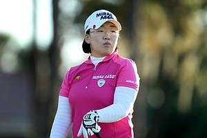 Jiyai Shin watches her tee shot during Saturday's round. Shin missed the second cut.