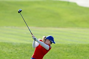 Morgan Pressel hits her tee shot at No. 6 during the final round.