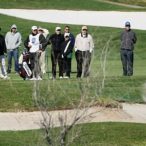Ben Martin hits out of the bunkers at No. 9 on Crooked Cat during the final round. Martin secured his card for 2010.