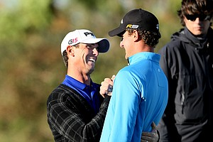 Former University of Florida teammates Billy Horschel, left, and Will Strickler, right, during the final round. Both got their cards.