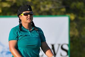 Christina Kim gestures during Round 1 in Dubai.