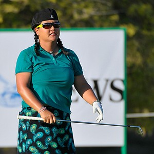 Christina Kim gestures during Round 1 in Dubai.