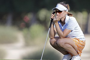 Stafanie Michl reads a putt during the first round of the Dubai Ladies Masters.