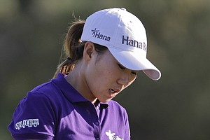 In-Kyung Kim reacts after missing a putt during Round 1 of the Dubai Ladies Masters.