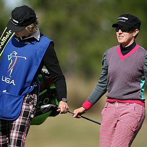 Mollie Fankhauser with her caddie Kelly Cavanaugh on Legends Course. Fankhauser is T8 after shooting 70.