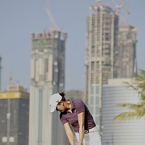 Michelle Wie hits a tee shot during the opening round of the Dubai Ladies Masters.