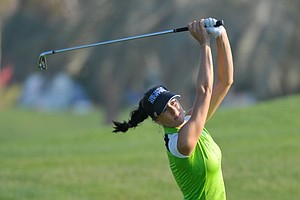 Russia's Maria Verchenova plays a shot on the 14th fairway during the second round of the Dubai Ladies Masters golf tournament at the Emirates Golf Club, Dubai, on Thursday, Dec. 9, 2010. (AP Photo/Stephen Hindley)