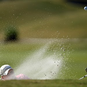 Meredith Duncan's hat is barely visible as she hits a bunker shot at No. 10 on Champions Course.