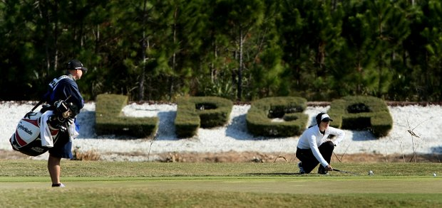 Jaclyn Sweeney lines up her putt at No. 18 on Champions Course. Sweeney is T31 after Round 2.