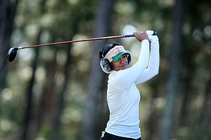 Seema Sadekar hits her tee shot at No. 17. Sadekar posted a 73.
