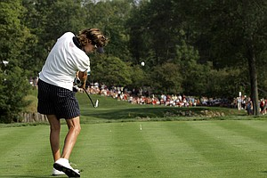Iben Tinning hits a shot during the 2005 Solheim Cup.
