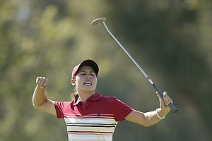 At 17, Aree Song celebrates an eagle putt on the 18th green during the final round of the Kraft Nabisco Championship.