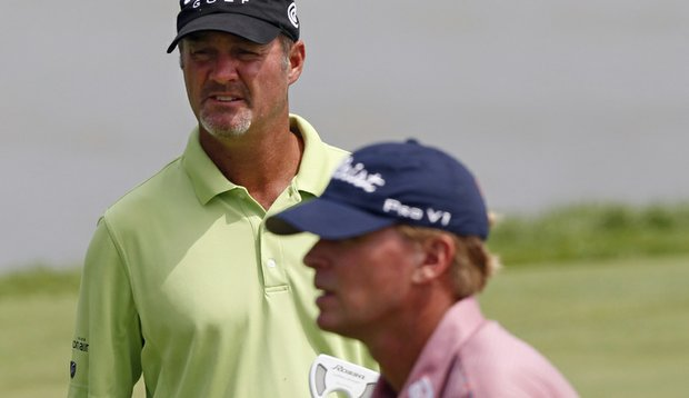 Steve Stricker, right, and Jerry Kelly putt on the eighth hole during a practice round for the PGA Championship.