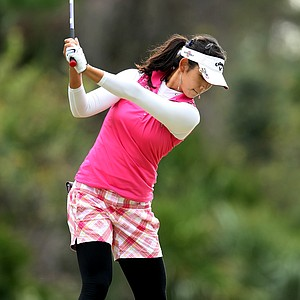 Jeehae Lee hits her tee shot at No. 9. Lee placed T8 and earned her LPGA card.
