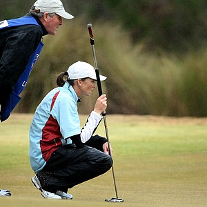 Libby Smith and her father/caddie Frank at No. 8 during the final round.