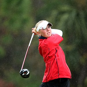 Jessica Korda tees off in the rain at No. 9. Korda placed second and turned pro immediately after the final round.