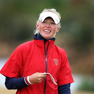 Jessica Korda is all smiles after putting out on the final hole. She immediately turned pro.