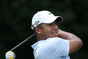 Jhonattan Vegas hits his tee shot at No. 1 on Course No. 2 during Mondays 2008 U. S. Men's Amateur in Pinehurst, N.C.