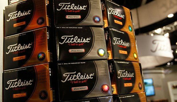 Titleist balls on display during the 2010 PGA Merchandise Show.