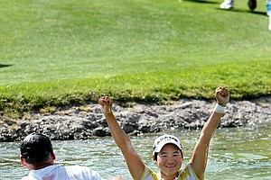 """I told my caddie, 'I don't know how to swim, can you help me to get on the top?' It was a little scary.""