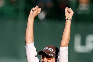 Maria Hjorth celebrates her one-stroke victory over  Amy Yang at the LPGA Tour Championship at Grand Cypress in Orlando, Fla. (December, 5, 2010)