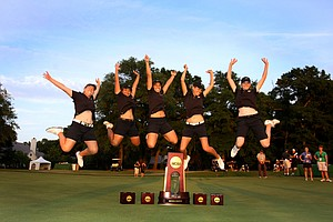 Purdue's women's team jumps for joy – literally – after winning the NCAA Women's Div. I Championship at Country Club of Landfall's Dye Course in Wilmington, N.C.