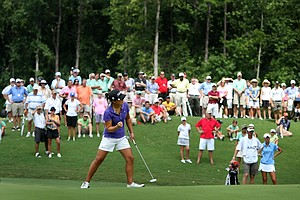 Danielle Kang birdies No. 16 during the morning 18 holes of Sunday's finals at the 2010 Women's Amateur Championship at Charlotte Country Club. Kang defeated teen standout Jessica Korda. (August 15, 2010)