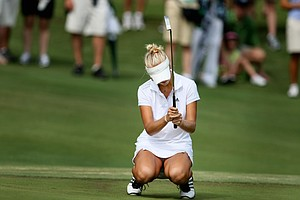 Jessica Korda reacts to a missed putt in her loss to Danielle Kang during the finals of the 2010 Women's Amateur at Charlotte Country Club. (August 15, 2010)