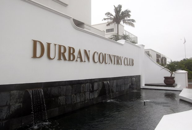 A view of the entrance to the club during Round 1 of the South African Open.
