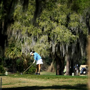 Esther Choe tees off during the season-opening Futures Tour event in Winter Haven, Fla.
