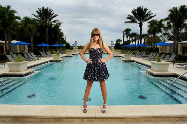 Paula Creamer, as part of the Golfweek for Her issue, is photographed at Omni Resort in Orlando showing off the sunglasses she endorses.