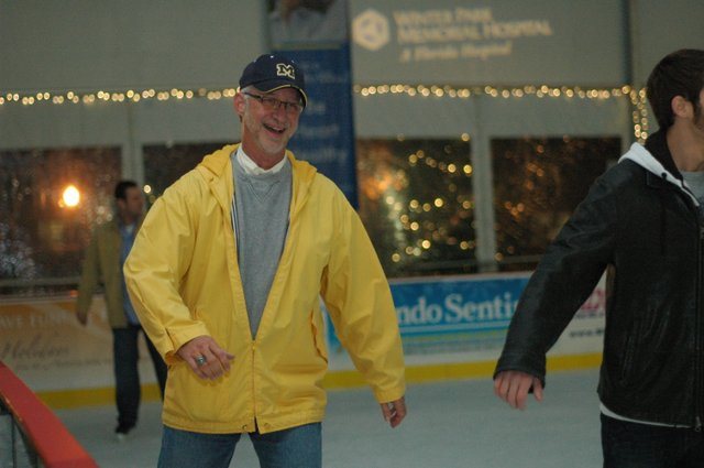 Winter Park Commissioners Tom McMacken tried out his skills on ice at the Winter in the Park rink in the West Meadow of Central Park on Dec. 9.