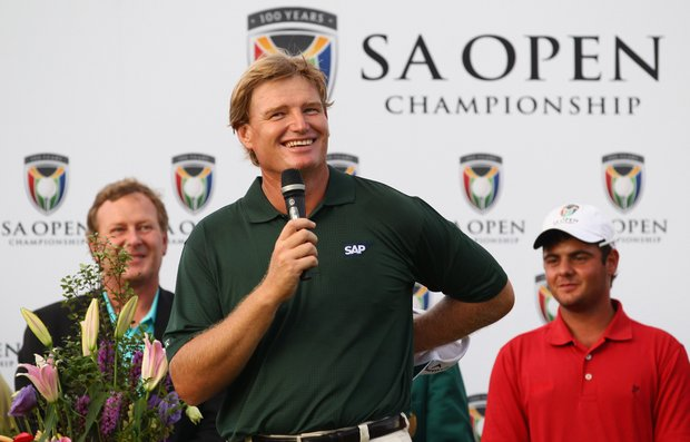 Ernie Els talks to the spectators after winning the South African Open.