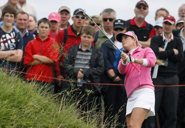 Paula Creamer of the USA plays out of the rough on the second hole during the final round of the women's British Open, at Royal Birkdale Golf Club, Southport, England, Sunday Aug. 1, 2010.