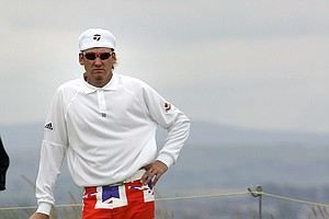 England's Ian Poulter stands on the 5th green on the opening day of the 2004 British Open golf championship at Royal Troon golf course in Troon, Scotland.