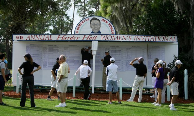 The scoreboard of the 56th Annual Harder Hall Women's Invitational in Sebring. Ashleigh Albrecht shot a 63.