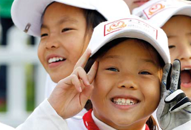 Kids take part in the China Golf Association's efforts to spur growth in the game.