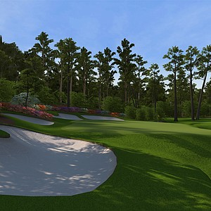 "Hole No. 13 at Augusta National as seen in the PS3 and XBox 360 versions of ""Tiger Woods 12: The Masters."""