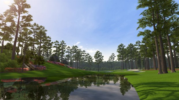 "Hole No. 16 at Augusta National as seen in the PS3 and XBox 360 versions of ""Tiger Woods 12: The Masters."""
