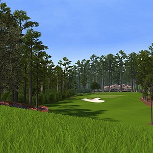 "Hole No. 6 at Augusta National as seen in the PS3 and XBox 360 versions of ""Tiger Woods 12: The Masters."""