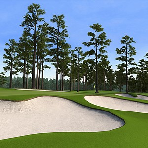 "Hole No. 7 at Augusta National as seen in the PS3 and XBox 360 versions of ""Tiger Woods 12: The Masters."""