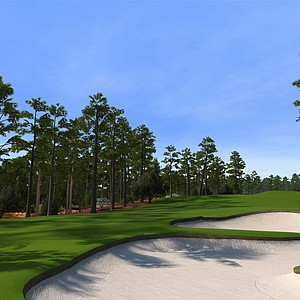 "Hole No. 8 at Augusta National as seen in the PS3 and XBox 360 versions of ""Tiger Woods 12: The Masters."""