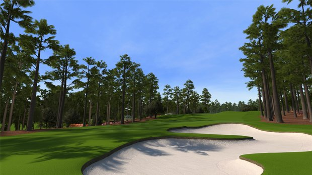 """Hole No. 8 at Augusta National as seen in the PS3 and XBox 360 versions of """"Tiger Woods 12: The Masters."""""""