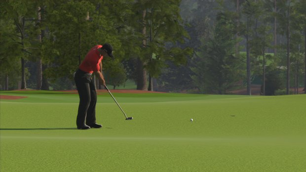 "Hole No. 18 at Augusta National as seen in the PS3 and XBox 360 versions of ""Tiger Woods 12: The Masters."""