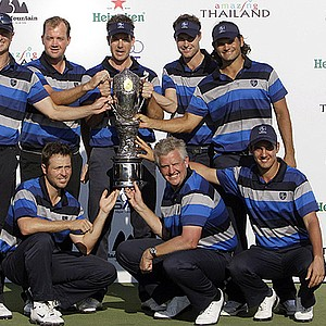 Europe team members pose after defeating the Asia team at the 2011 Royal Trophy. From left in front row, Pablo Martin of Spain, captain Colin Montgomerie of Scotland and Matteo Manassero of Italy. Second row from left, Fredrik Andersson of Sweden, Peter Hanson of Sweden, Rhys Davies of Wales, Henrik Stenson of Sweden and Johan Edfors of Sweden.
