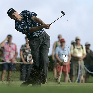 Second place finisher Jim Furyk hits from the 16th fairway in the final round of the Grand Slam of Golf at the Poipu Bay Golf Course in Poipu Beach, Hawaii, Wednesday, Nov. 22, 2006. Tiger Woods won the event by two shots.