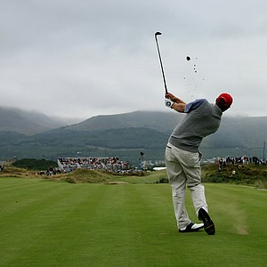 Dustin Johnson of the U.S. tees off on the 7th during the foursomes match against Great Britain and Ireland in the Walker Cup at Royal County Down, Newcastle, Northern Ireland, Saturday, Sept., 8, 2007.